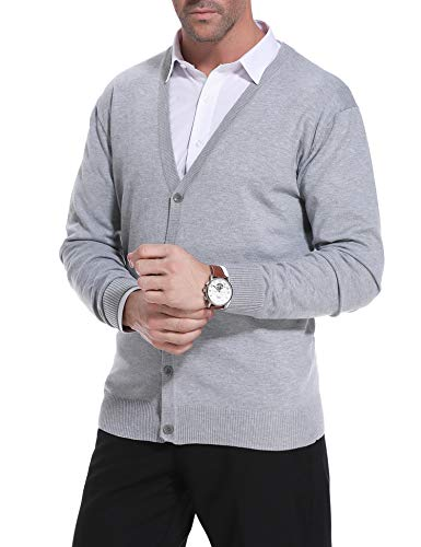 iClosam Mens Slim Fit V-Neck Knitted Button Down Cardigan Sweater with Ribbing Edge (#2Grey, Large) (Edge Cashmere Cardigan)