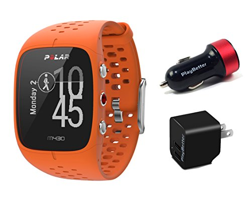 (Polar M430 (Orange) Running Watch POWER Bundle | Includes Running Watch, PlayBetter USB Car/Wall Charging Adapters | Advanced GPS Running Watch/Activity Tracker with Optical Wrist-HR)