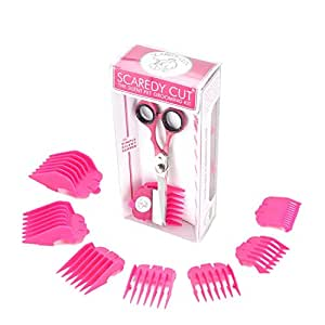 Scaredy Cut Silent Pet Grooming Kit for Cats & Dogs - Quiet Alternative to Electric Clippers for Sensitive Pets - Right-Handed, Pink