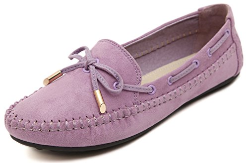 Classic Moccasins Suede (Women's Casual Velvet Flat Loafers, Lilac Purple Suede Gold Pendant Lace Low Top Comfy Bows, Anti-Slip Rubber Outsole Memory Feet Support Insole Sneakers Prime Chic Moccasin Shoes)