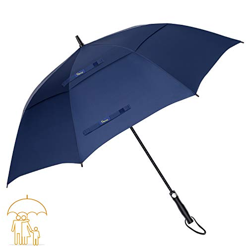 Heasy Golf Umbrella Windproof Large 68 Inch Automatic Open Double Canopy Vented Extra Large Stick Umbrellas for Men and Women (Blue)