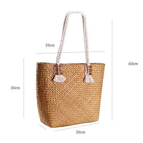 Vintage Straw Bags Rattan Women Shoulder Bags Wicker Woven Famale Handbags Bamboo Large,brown small (Baskets Rattan Cheap Singapore)