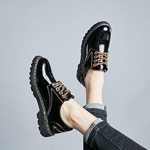 Giy Kvinners Vintage Oxfords Vingetippene Snøre Opp Tilfeldige Lav Flat Komfort Retro Kjole Loafer Sko Black1