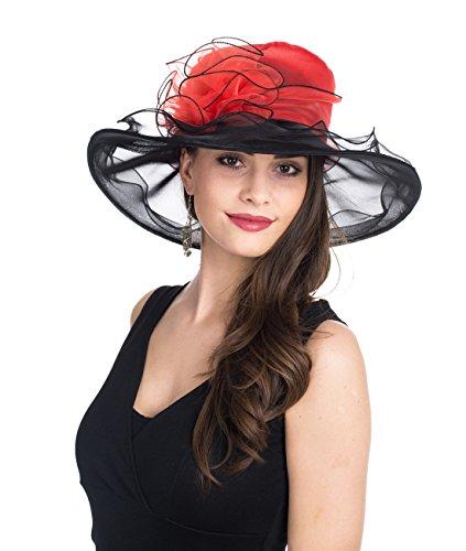 SAFERIN Women's Organza Church Kentucky Derby Hat Feather Veil Fascinator Bridal Tea Party Wedding Hat (New-Red Black Flower) ()
