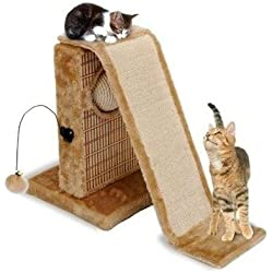Penn Plax Cat Activity Center with Sisal Slide Scratch Mat and Double Dangle Toy