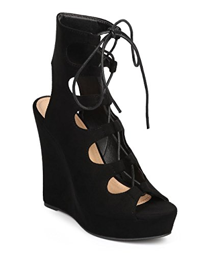 Liliana Women Suede Peep Toe Gilly Tie Cutout Ankle Wedge Sandal DI19 - Black (Size: 8.0)