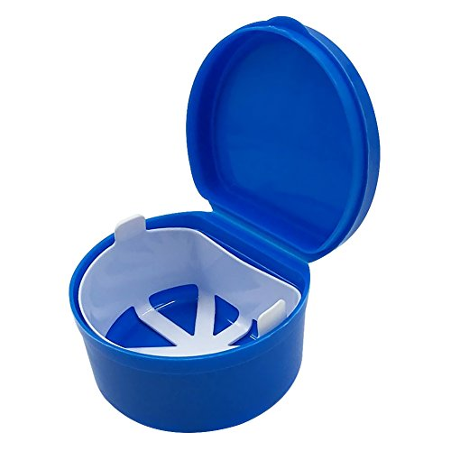 Denture Cup with Strainer,1 Box Denture Brush Retainer Case, Denture Case with Lid,Denture Bath Box for Cleaning, Store and Retrieve(Dark Blue)