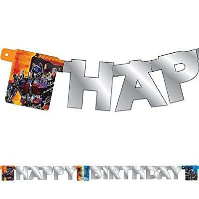 "Transformers ""Happy Birthday"" Banner - Jointed Letter Party Decoration (5 Feet Long): Toys & Games"