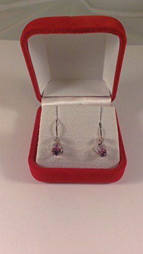 Sterling Silver Amethyst & Diamond Earrings S12-1.10 CTW. Lever back, Case and C Amethyst Aa Diamond Ring