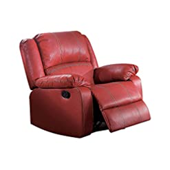 Living Room ACME Zuriel Red Faux Leather Rocker Recliner