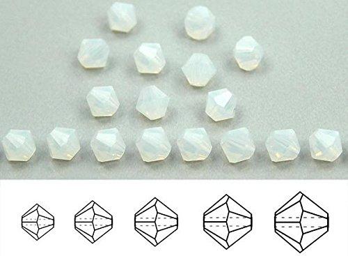 6mm White Opal, Czech MC Rondell Bead (Bicone, Diamond Shape), 2 gross = 288 pieces