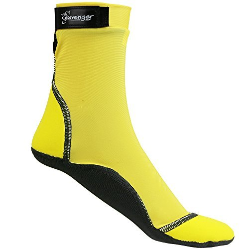 Seavenger High Cut Beach Socks with Grip Sole for Sand, Volleyball, Snorkeling, Diving, Wading (Yellow, Medium)