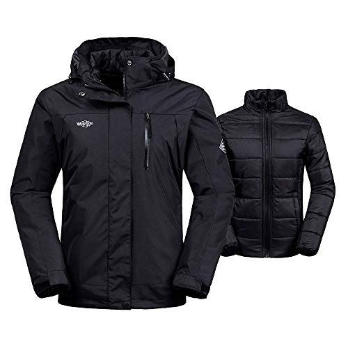 Wantdo Women's Interchange Jacket 3-in-1 Winter Coat Wind Block Warm Anorak with Detachable Puffer Liner Insulated Hoodie(Black, Medium)