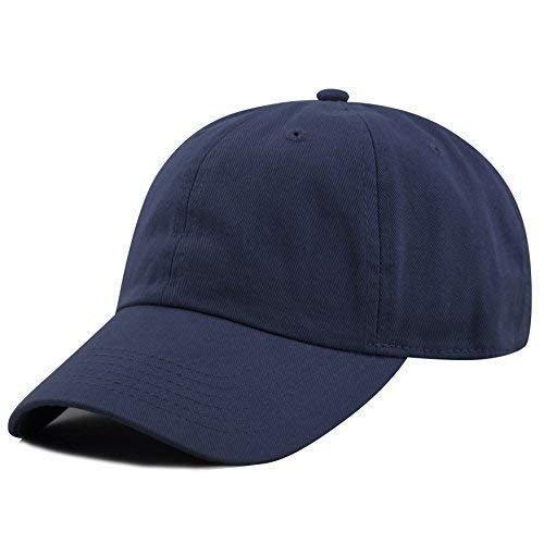Blue Baseball Cap - The Hat Depot 300N Washed Low Profile Cotton and Denim Baseball Cap (Navy)