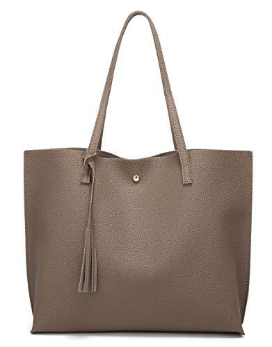- Women's Soft Faux Leather Tote Shoulder Bag from Dreubea, Big Capacity Tassel Handbag Dark Khaki