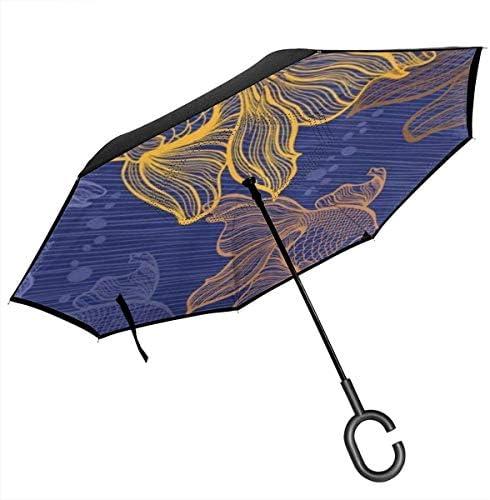 金魚 ユニセックス二重層防水ストレート傘車逆折りたたみ傘C形ハンドル付き