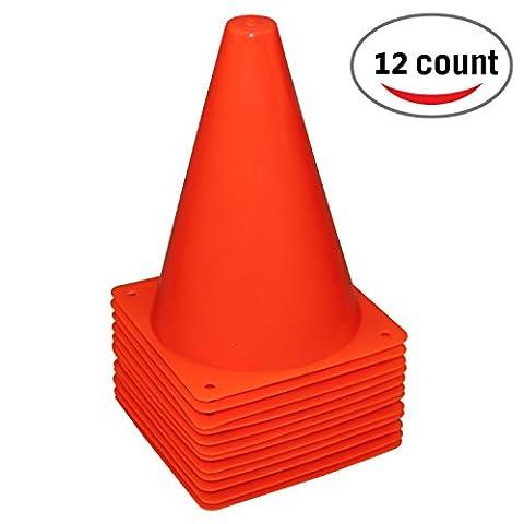 Reehut 7.5 Inch Plastic Sport Training Traffic Cone (Set of 12, Red) - Traffic Cone