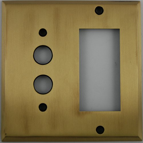 - Antique Brass 2 Gang Wall Plate - 1 Push Button Switch 1 GFI/Rocker Opening