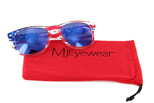 MJ Eyewear Patriotic Sunglasses American Flag Lens (USA Flag, Blue Color Mirror - Sunglasses Wayfayer