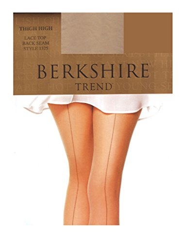 Back Seam Pantyhose Stockings - Berkshire Women's Trend Back Seam Thigh Highs - Sandalfoot 1325,Nude/Black, A/B