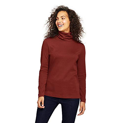 Turtleneck Interlock Mock Ladies (Lands' End Women's Tall Shaped Supima Turtleneck, M, Bright Rust)