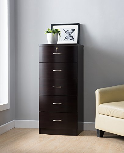 Mission 5 Drawer Chest (Lux A Series Smart Home 5 Drawers Chest Utility Storage (Coffee Bean) Top drawer is Lockable)