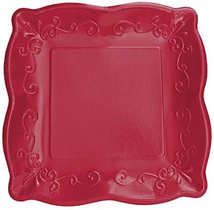 8-Count Elise Scalloped Embossed 10u0026quot; Square Premium Paper Banquet Plates ... & Amazon.com: 8-Count Elise Scalloped Embossed 10