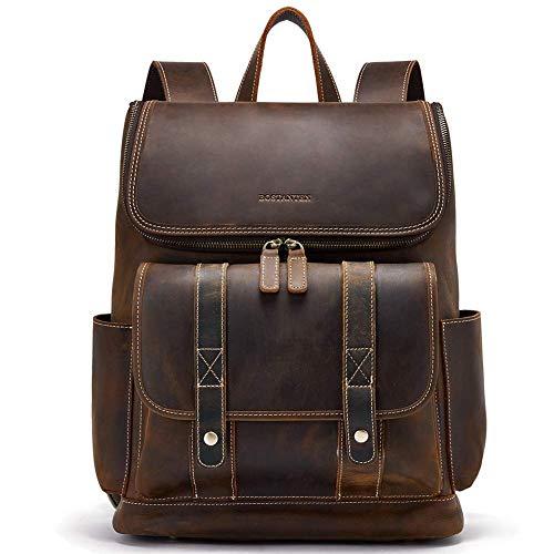 BOSTANTEN Leather Backpack 15.6 inch Laptop Backpack Vintage Travel Office