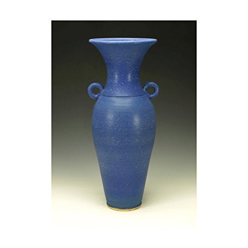 Cobalt blue pottery vase with handles