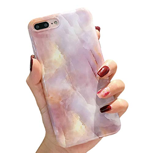 iPhone 7 Plus case,iPhone 8 Plus Case,Colorful Glossy Marble iPhone Case for Girls Women,Kisstop Collection High Impact Flexible Silicon Case for iPhone 8 Plus & iPhone 7 Plus ()