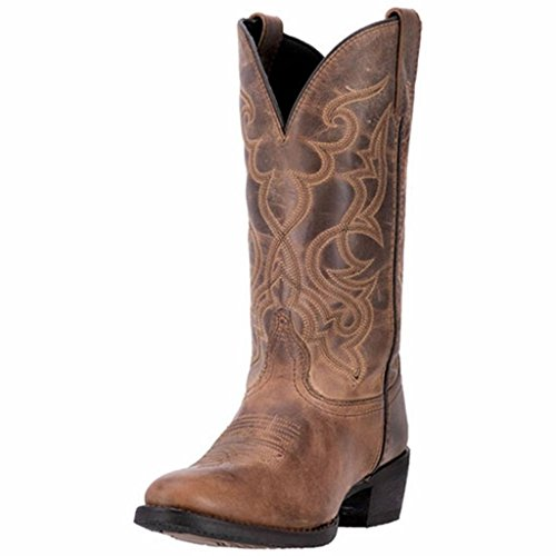 Laredo Women's 11'' Maddie Distressed Round Toe Western Casual Boots, Tan Leather, 9.5 W