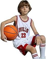 ZHAW Bulls Jordan basketbalshirt broek set kinderen jongens 23# jersey, ademend mesh mouwloos trainingspak, 3XS-2XL