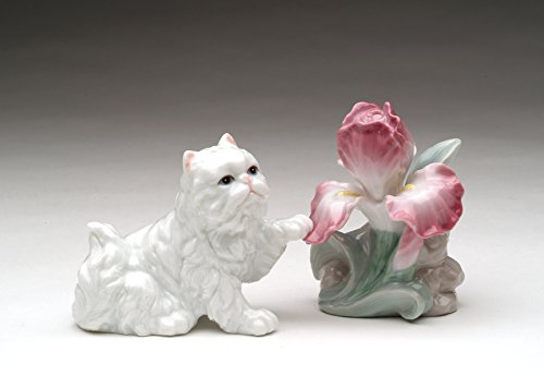 Iris Salt - Cosmos Gifts PC48210 Fine Porcelain White Persian Cat with Iris Flower Salt and Pepper Shakers, 3-3/4