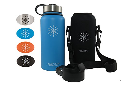 Smart Flask Stainless Steel Water Bottle, Wide Mouth, Vacuum Insulated, Includes Carrying Pouch 59 inch Shoulder Strap, Rugged Leakproof Stainless Steel Lid Flip Top Coffee Lid
