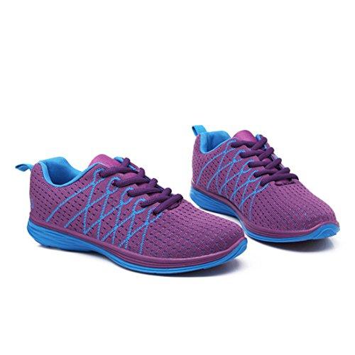 Yiblbox Mujeres Zapatillas De Deporte Ligeras Y Transpirables Zapatillas De Deporte Zapatillas De Caminar Moradas