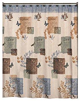 Faith Bath Collection - Shower Curtain & Hooks with Bath Acc