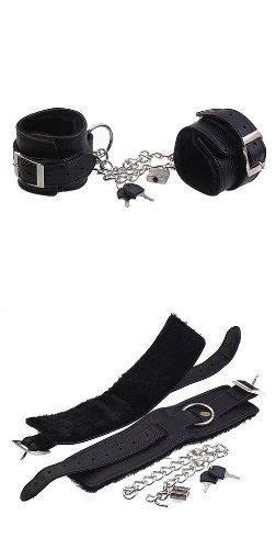 Bondage Restraint with Faux Fur Unisex Leather Cuff include Lock & Chain J1675#D1 by Sex Toys > Bondage Kit