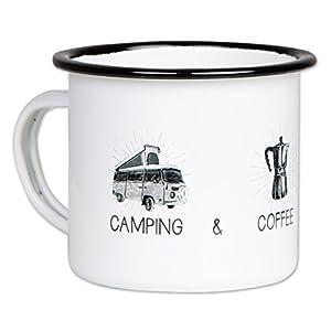 Camping Coffee Campfire - Hochwertige Emaille Tasse mit Outdoor Design, leicht und bruchsicher, für Camper - von MUGSY…