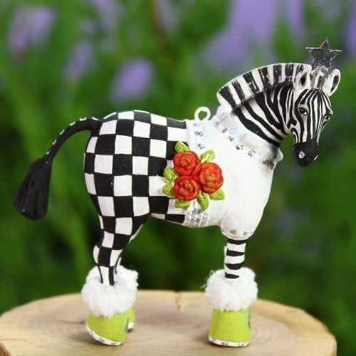 (Patience Brewster Christmas Home Decor Mini Zelda Zebra Figural Ornament #30999 )