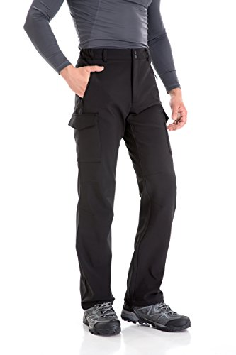 Trailside Supply Co Men's Water-Repellent Softshell Fleece-Lined Cargo Pant (Black-M)