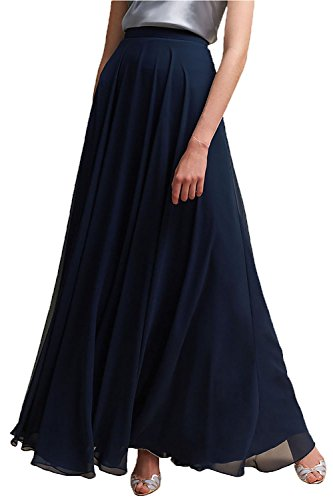 Honey Qiao Women's Chiffon Maxi Skirt Bridesmaid Dresses Long High Waist Floor/Ankle Length Elastic Woman Dresses with Belt Navy Blue