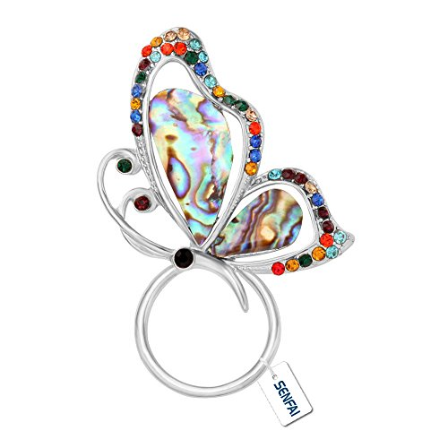 SENFAI Abalone Paua Shell Butterfly Magnet Brooch Perfect Gift Eyeglass Holder (Silver) Glass Silver Brooch