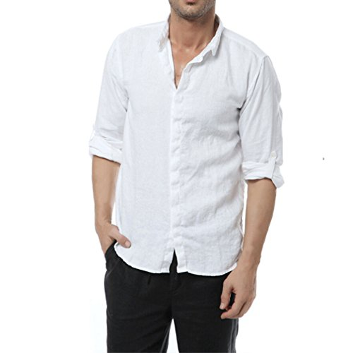 Linen Button Up Shirt - East Castle Men's 100% Linen Comfort Long Sleeve Button up Shirt White US Medium