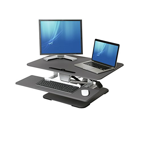Seville Classics WEB583 Airlift Gas-Spring Aluminum Ergonomic Compact Standing Desk Converter Height Adjustable to 17.9
