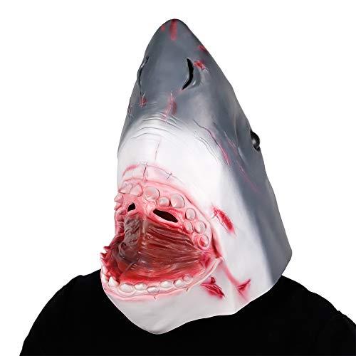 Waylike Halloween Novelty Shark Mask Full Head Latex Animal Head Costume Collectible Mask Toy