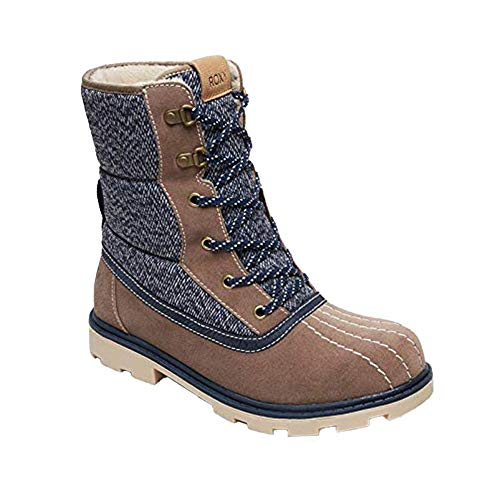 Roxy - Nikko Waterproof Suede Winter Boots, Quilted Waterproof Polyester, Lace Up, Padded Shaft, Faux Fur Lined (Womens, 9.5) Blue