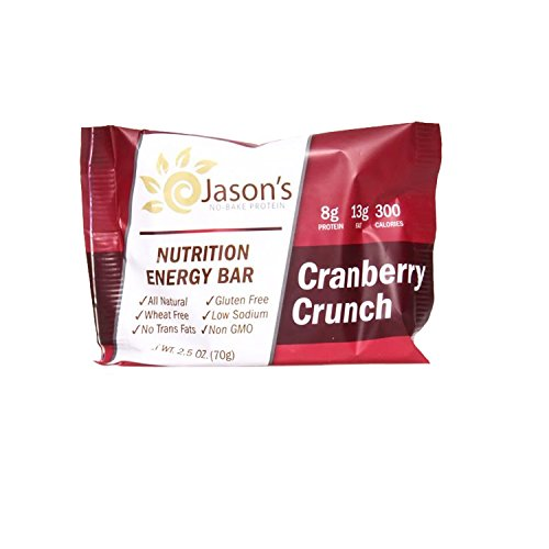 Jason's No Bake Protein ~ Cranberry Crunch ~ 12 Pack ~ All Natural Nutrition Energy Bar