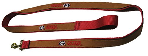 Georgia Bulldogs Leather Lead Red 6 Foot Dog Leash