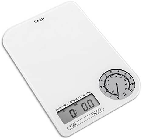Ozeri ZK18-WG Rev Digital Kitchen Scale with Electro-Mechanical Weight Dial, White