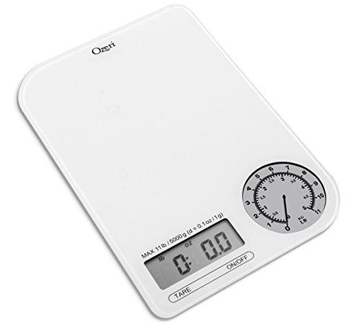 Ozeri ZK18-WG Rev Digital Kitchen Scale with Electro-Mechanical Weight Dial, Gray Dial